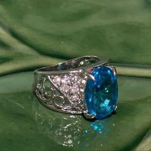 💥5/$25💥 Aqua Marine & Crystal Silver Ring Sz 7